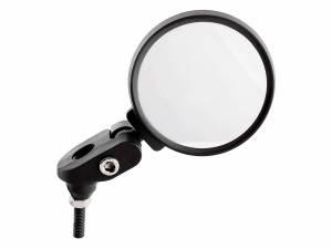 Miroir de vélo Mirage Extrémité de barre ronde avec fiche sur la carte. Le miroir est en verre incassable, le boîtier et le support sont en plastique de haute qualité, les vis et les pièces métalliques sont en acier inoxydable. Facilement réglable à tout a