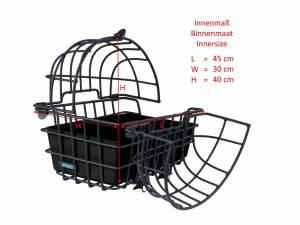 AROUND panier arrière pour animaux LUNA, avec dôme amovible et système de fixation pour porte-bagages, noir mat
